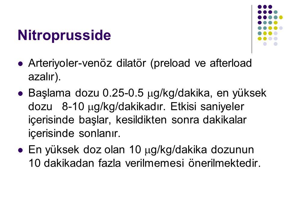 Nitroprusside Arteriyoler-venöz dilatör (preload ve afterload azalır).