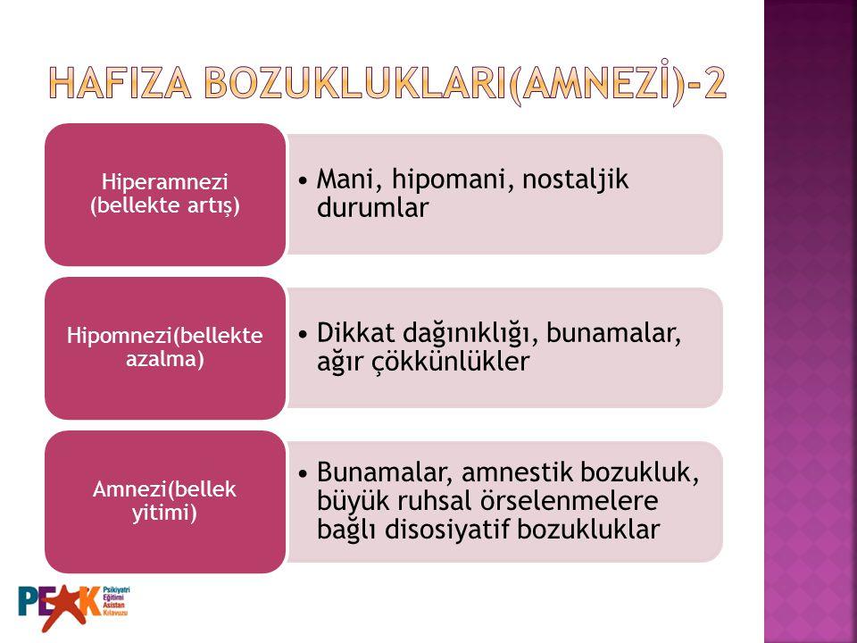 HAFIZA BOZUKLUKLARI(AMNEZİ)-2
