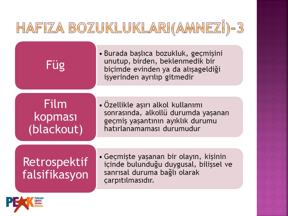 HAFIZA BOZUKLUKLARI(AMNEZİ)-3
