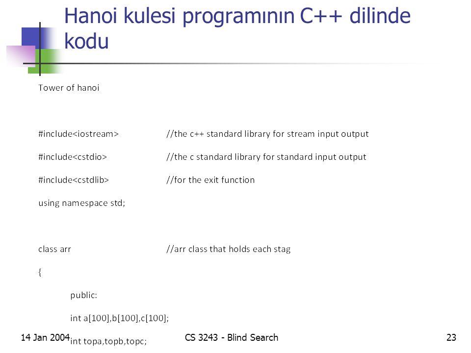 Hanoi kulesi programının C++ dilinde kodu