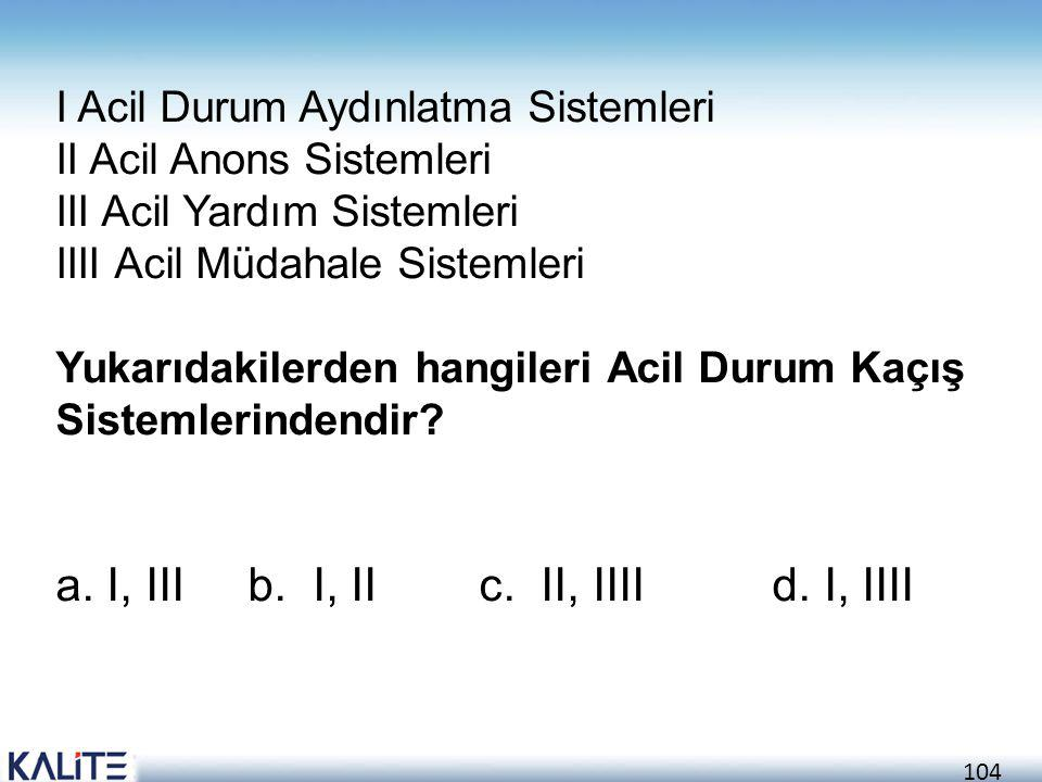 a. I, III b. I, II c. II, IIII d. I, IIII