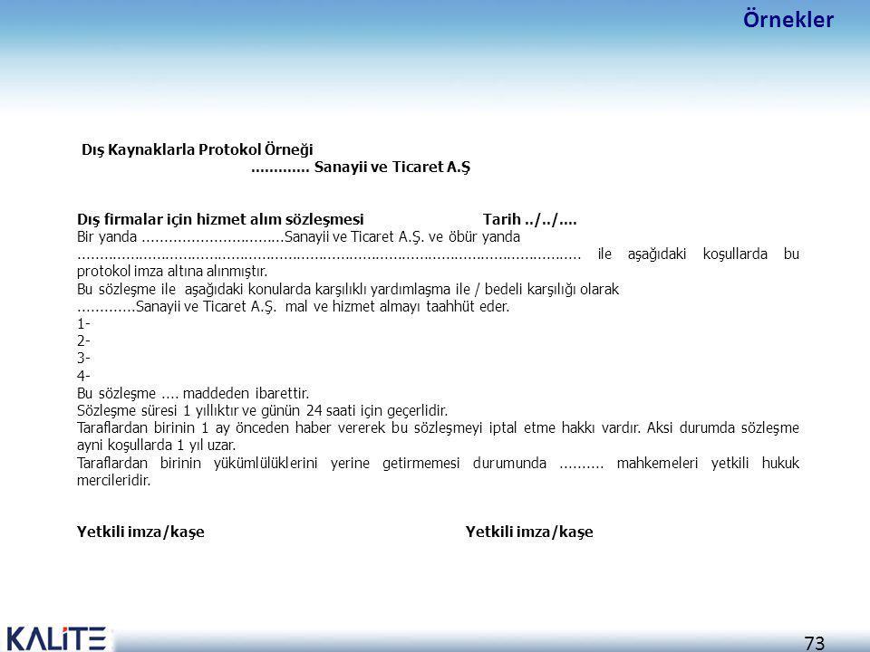 Örnekler Dış Kaynaklarla Protokol Örneği