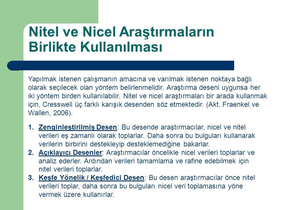 Nitel ve Nicel Araştırmaların Birlikte Kullanılması