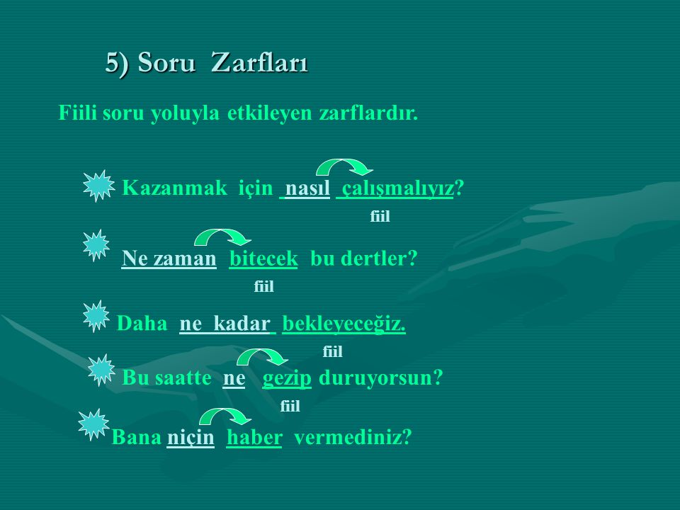 5) Soru Zarfları Fiili soru yoluyla etkileyen zarflardır.