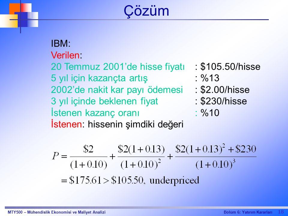 Çözüm IBM: Verilen: 20 Temmuz 2001'de hisse fiyatı : $105.50/hisse