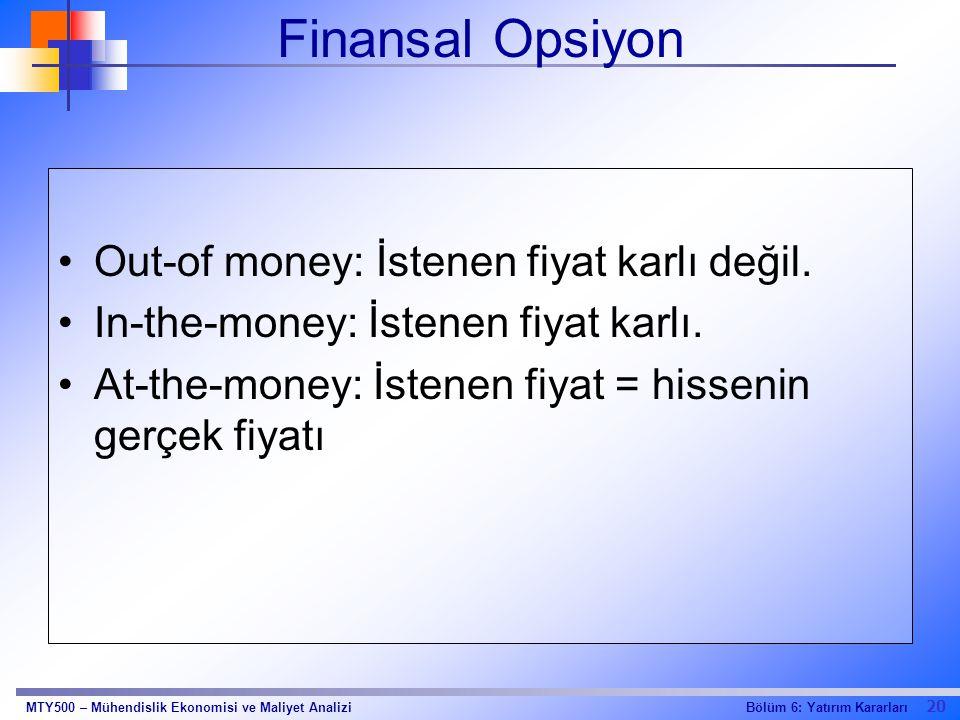 Finansal Opsiyon Out-of money: İstenen fiyat karlı değil.