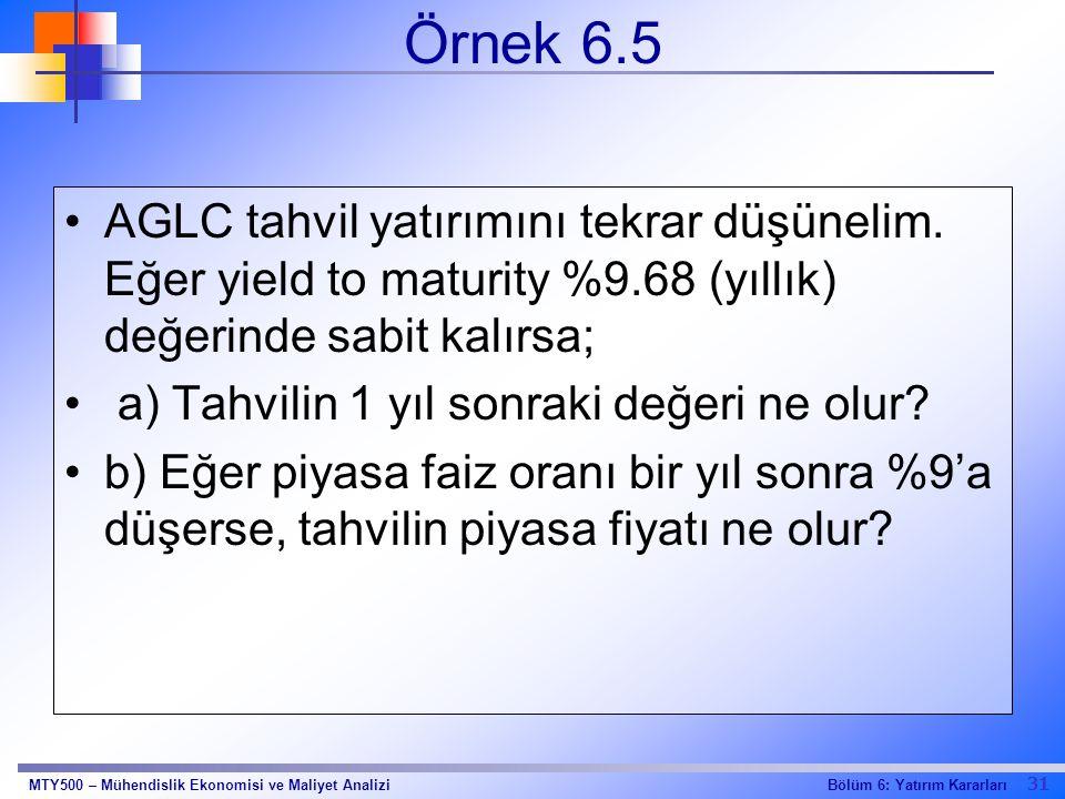 Örnek 6.5 AGLC tahvil yatırımını tekrar düşünelim. Eğer yield to maturity %9.68 (yıllık) değerinde sabit kalırsa;