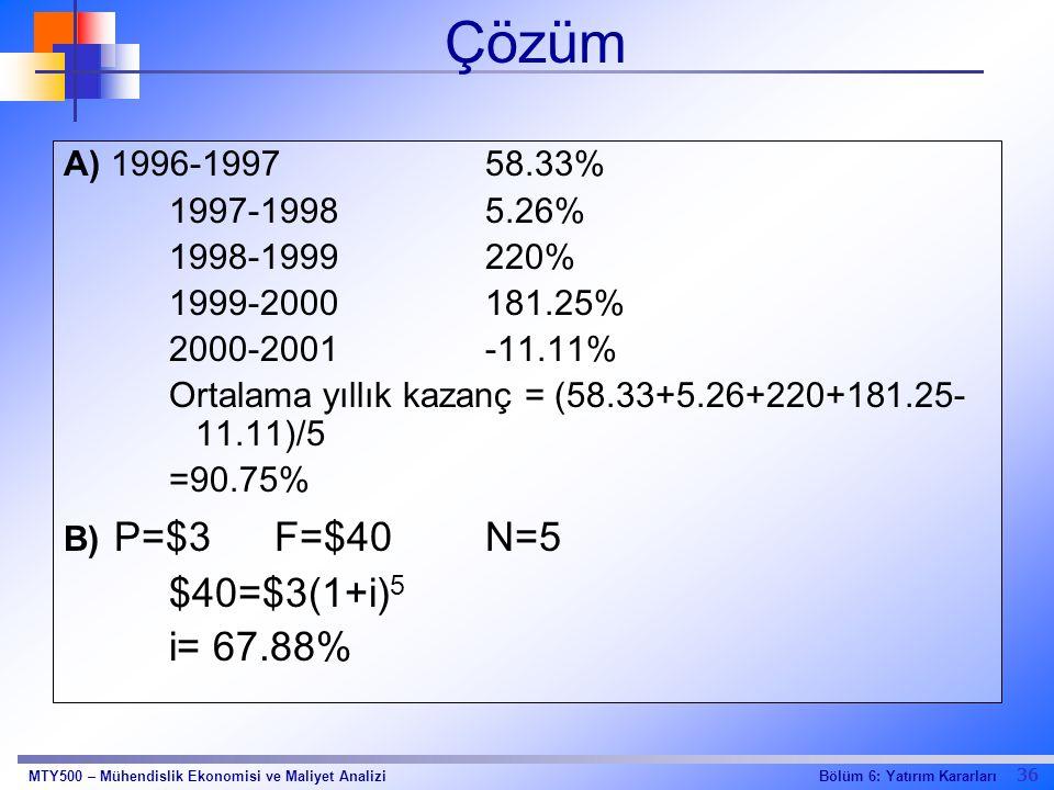 Çözüm $40=$3(1+i)5 i= 67.88% A) 1996-1997 58.33% 1997-1998 5.26%