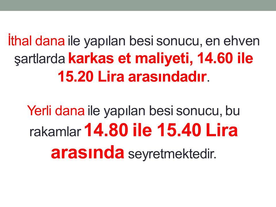 İthal dana ile yapılan besi sonucu, en ehven şartlarda karkas et maliyeti, 14.60 ile 15.20 Lira arasındadır.