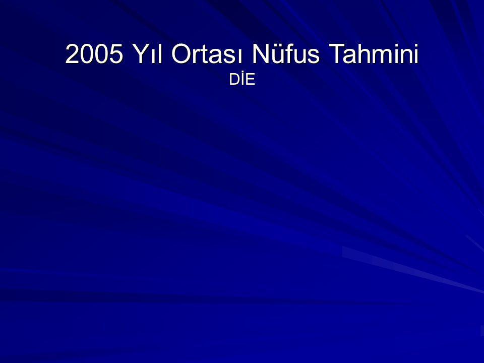 2005 Yıl Ortası Nüfus Tahmini DİE