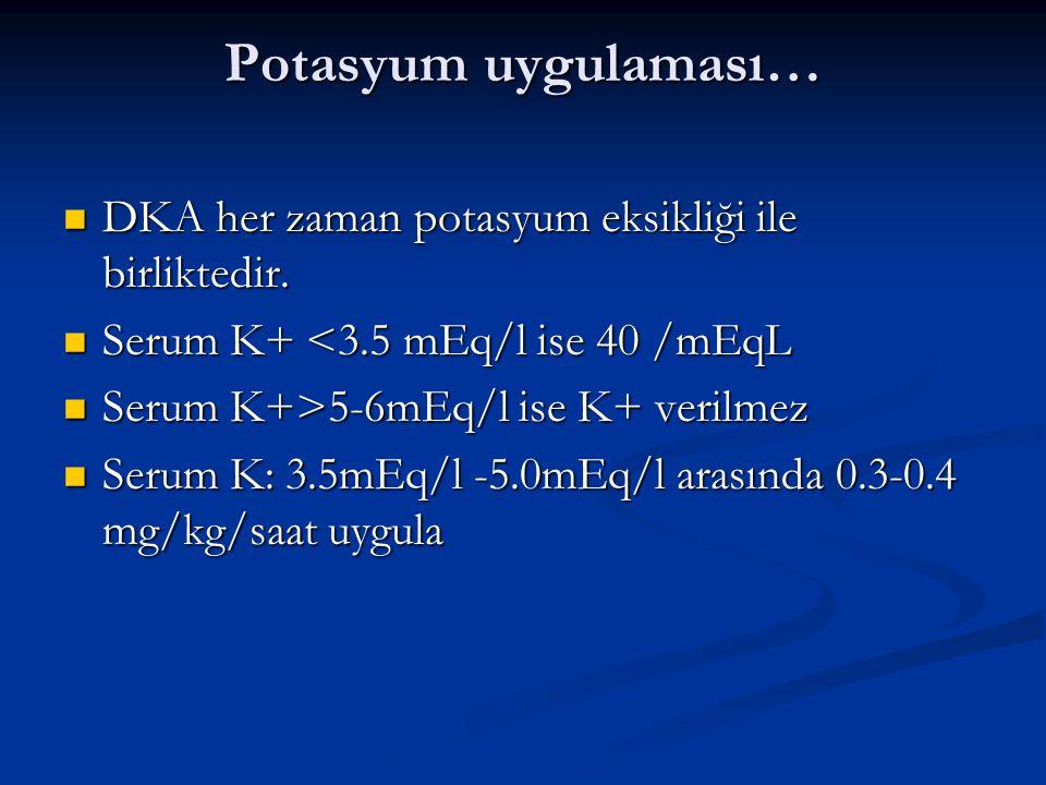 Potasyum uygulaması… DKA her zaman potasyum eksikliği ile birliktedir.
