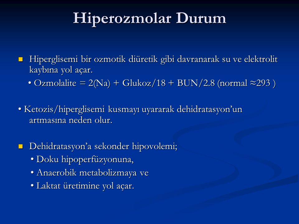 Hiperozmolar Durum Hiperglisemi bir ozmotik diüretik gibi davranarak su ve elektrolit kaybına yol açar.