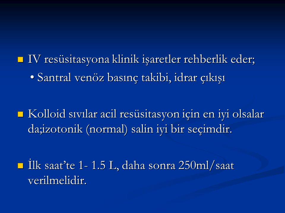 IV resüsitasyona klinik işaretler rehberlik eder;