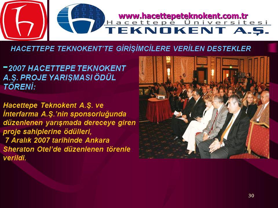 www.hacettepeteknokent.com.tr HACETTEPE TEKNOKENT'TE GİRİŞİMCİLERE VERİLEN DESTEKLER.