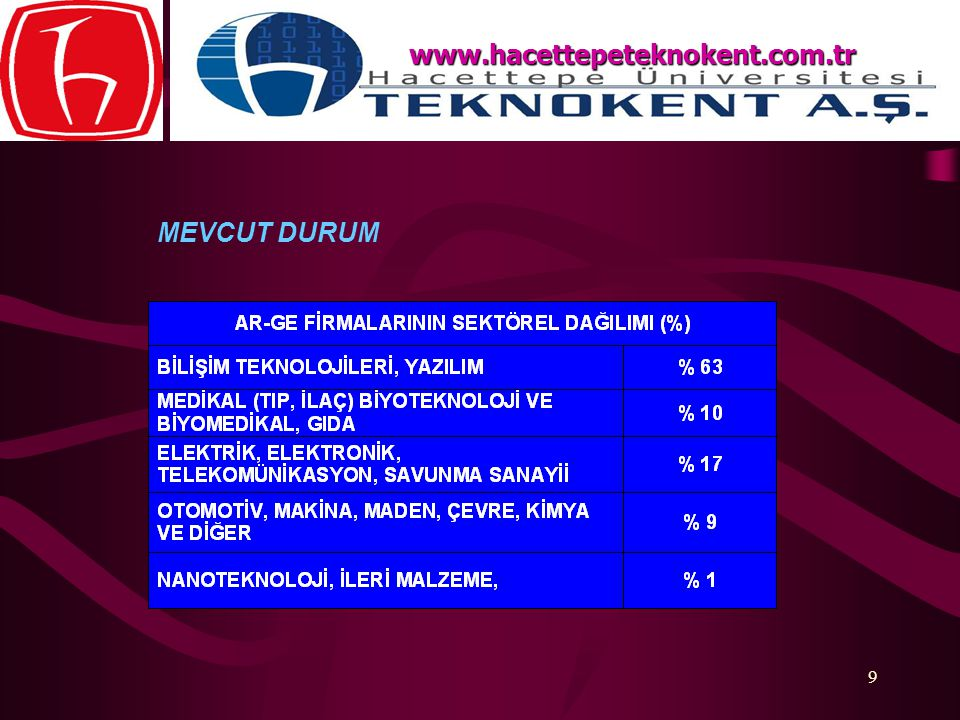 www.hacettepeteknokent.com.tr MEVCUT DURUM