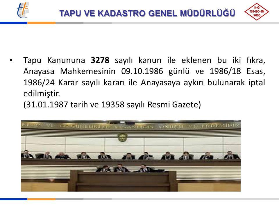 Tapu Kanununa 3278 sayılı kanun ile eklenen bu iki fıkra, Anayasa Mahkemesinin 09.10.1986 günlü ve 1986/18 Esas, 1986/24 Karar sayılı kararı ile Anayasaya aykırı bulunarak iptal edilmiştir.