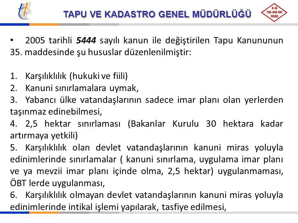 2005 tarihli 5444 sayılı kanun ile değiştirilen Tapu Kanununun 35