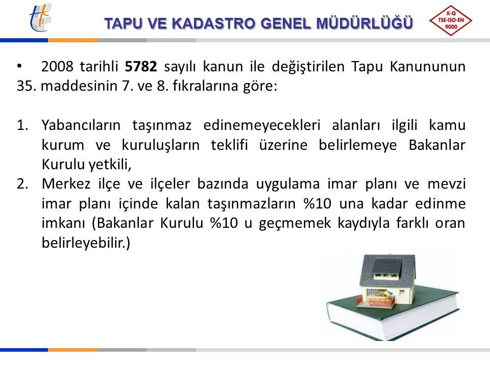2008 tarihli 5782 sayılı kanun ile değiştirilen Tapu Kanununun 35