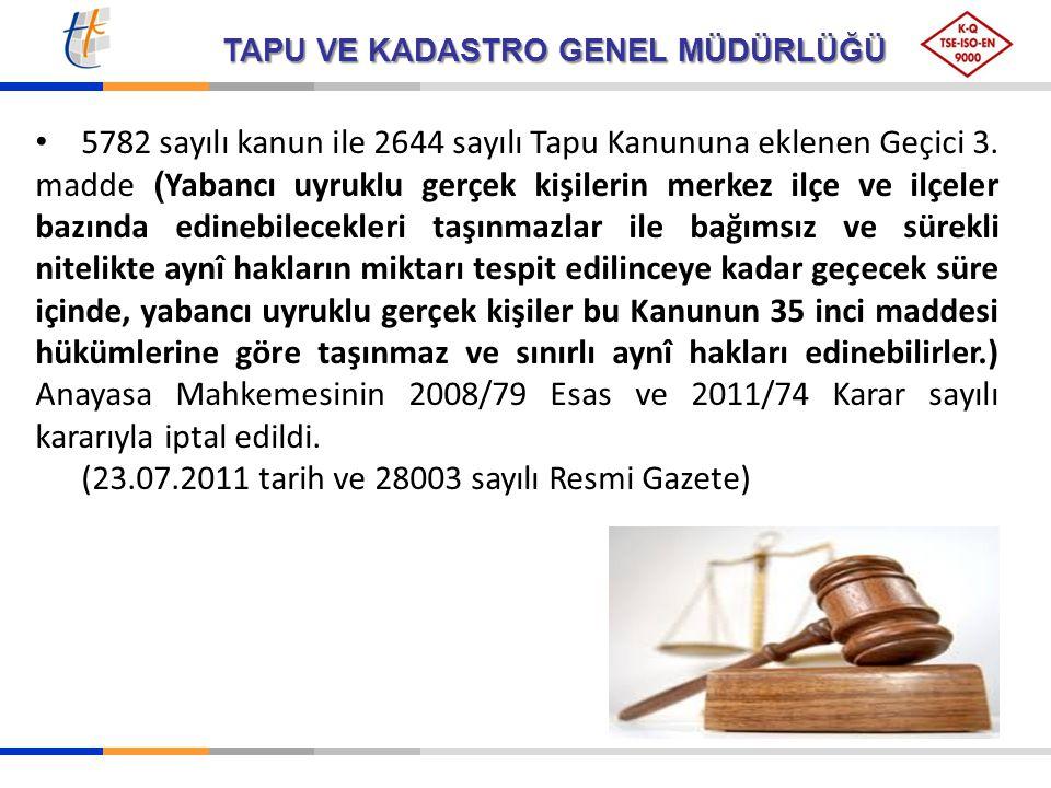 5782 sayılı kanun ile 2644 sayılı Tapu Kanununa eklenen Geçici 3