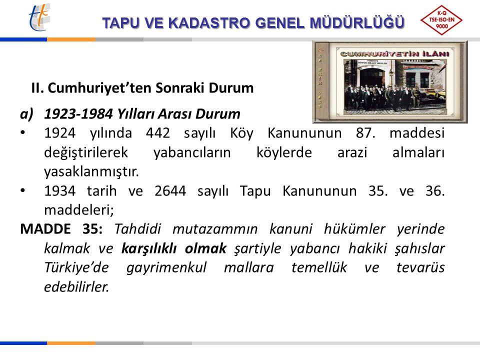 II. Cumhuriyet'ten Sonraki Durum