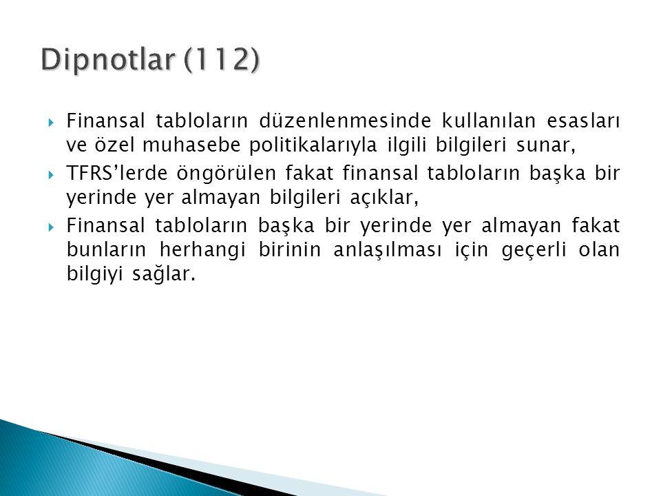 Dipnotlar (112) Finansal tabloların düzenlenmesinde kullanılan esasları ve özel muhasebe politikalarıyla ilgili bilgileri sunar,