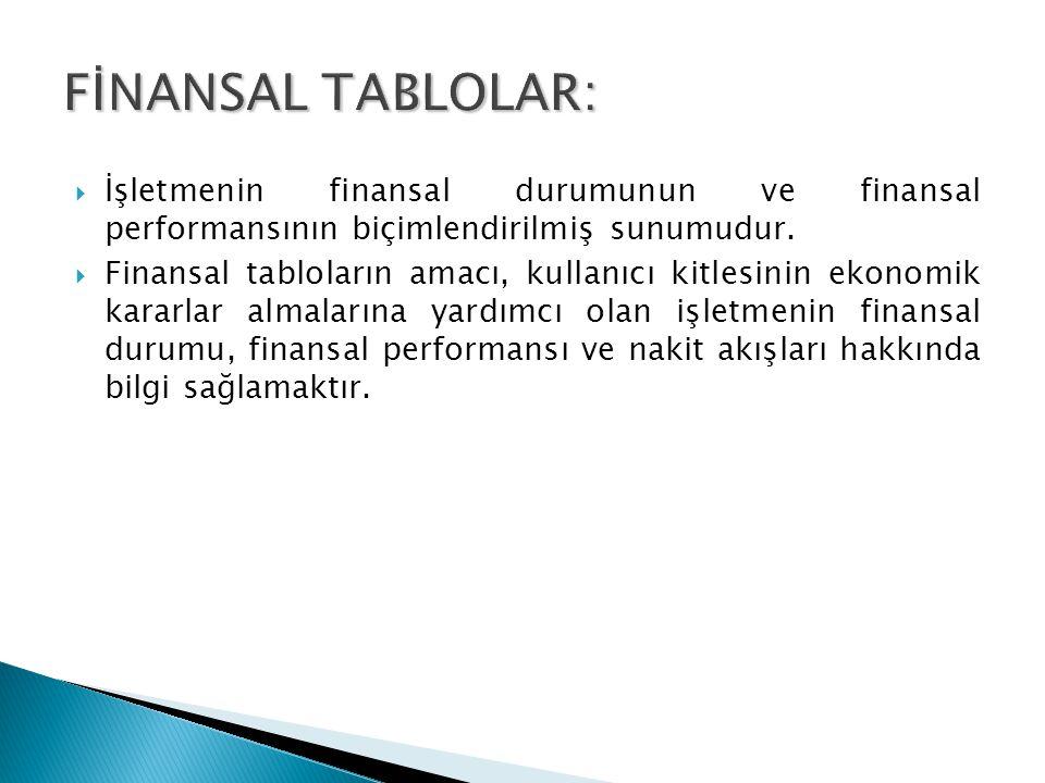 FİNANSAL TABLOLAR: İşletmenin finansal durumunun ve finansal performansının biçimlendirilmiş sunumudur.