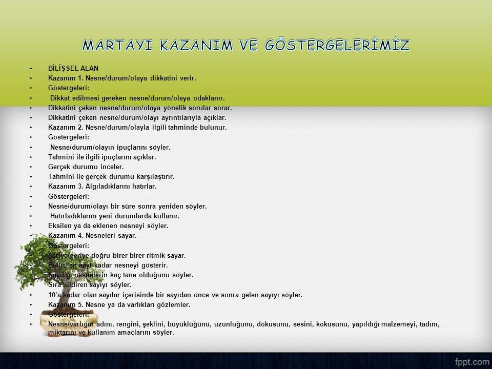 MARTAYI KAZANIM VE GÖSTERGELERİMİZ