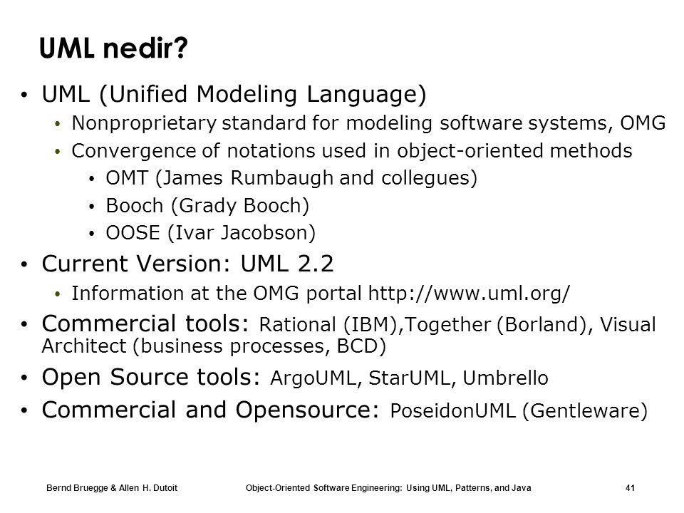 UML nedir UML (Unified Modeling Language) Current Version: UML 2.2