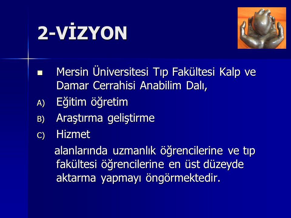 2-VİZYON Mersin Üniversitesi Tıp Fakültesi Kalp ve Damar Cerrahisi Anabilim Dalı, Eğitim öğretim. Araştırma geliştirme.