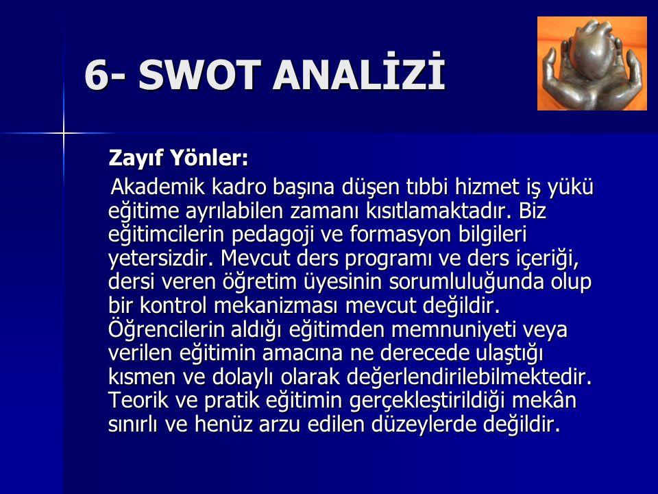 6- SWOT ANALİZİ Zayıf Yönler: