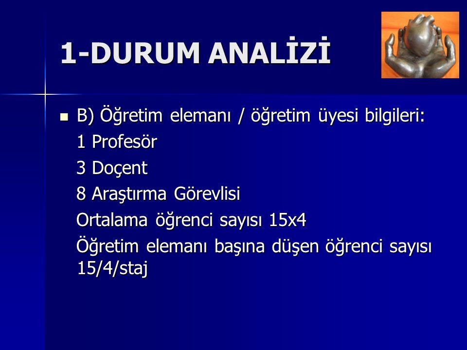 1-DURUM ANALİZİ B) Öğretim elemanı / öğretim üyesi bilgileri: