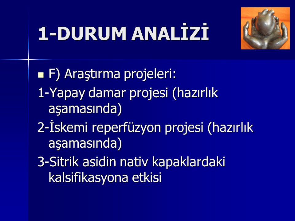 1-DURUM ANALİZİ F) Araştırma projeleri: