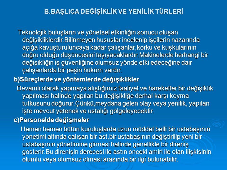 B.BAŞLICA DEĞİŞİKLİK VE YENİLİK TÜRLERİ