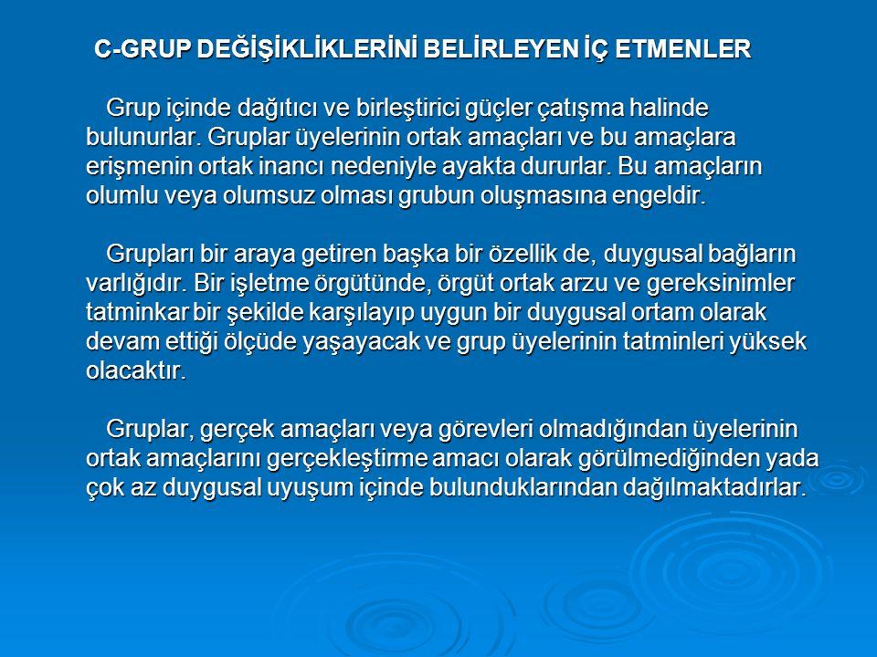 C-GRUP DEĞİŞİKLİKLERİNİ BELİRLEYEN İÇ ETMENLER Grup içinde dağıtıcı ve birleştirici güçler çatışma halinde bulunurlar.