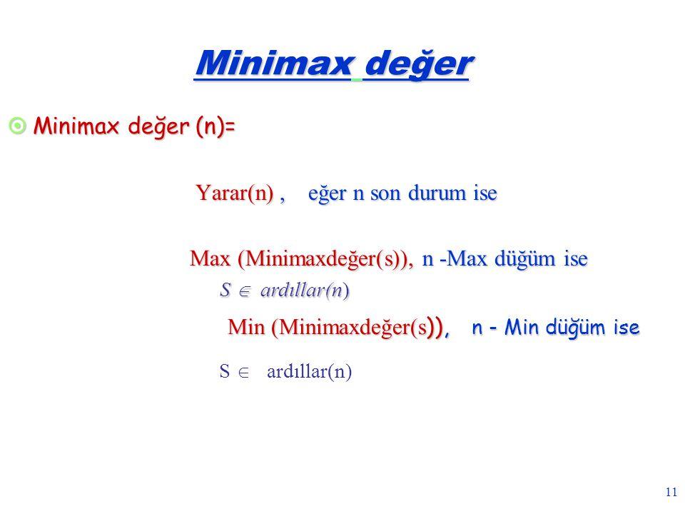 Minimax değer Minimax değer (n)= Yarar(n) , eğer n son durum ise