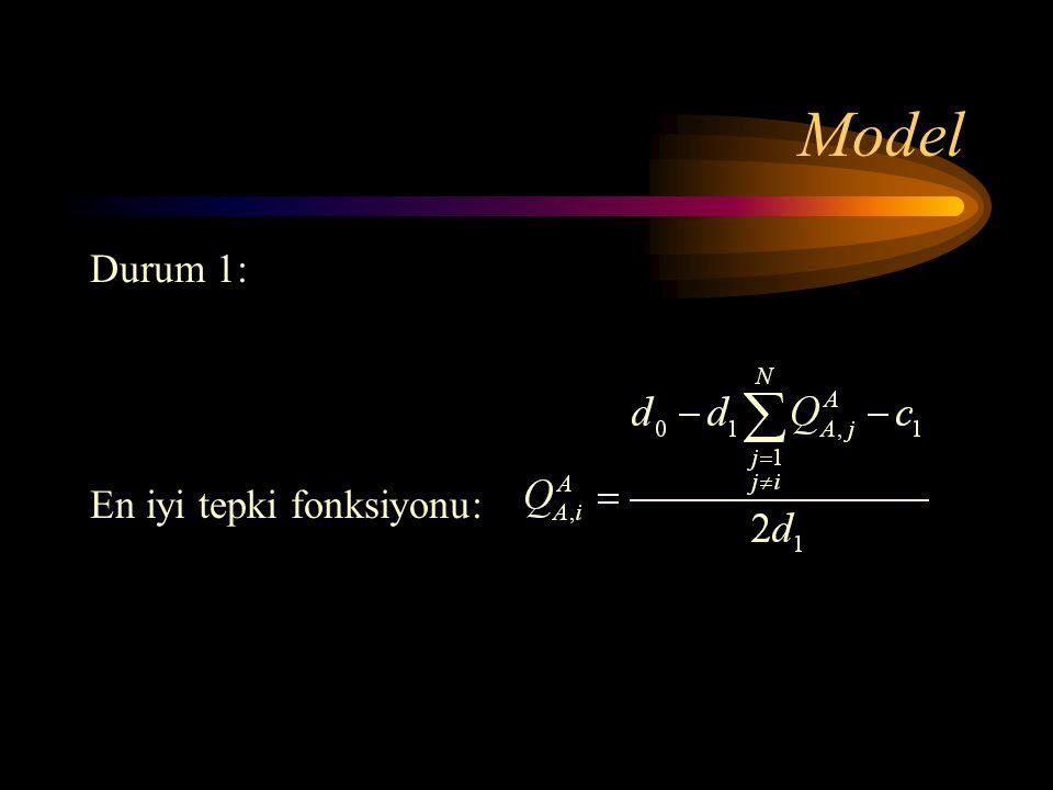 Model Durum 1: En iyi tepki fonksiyonu:
