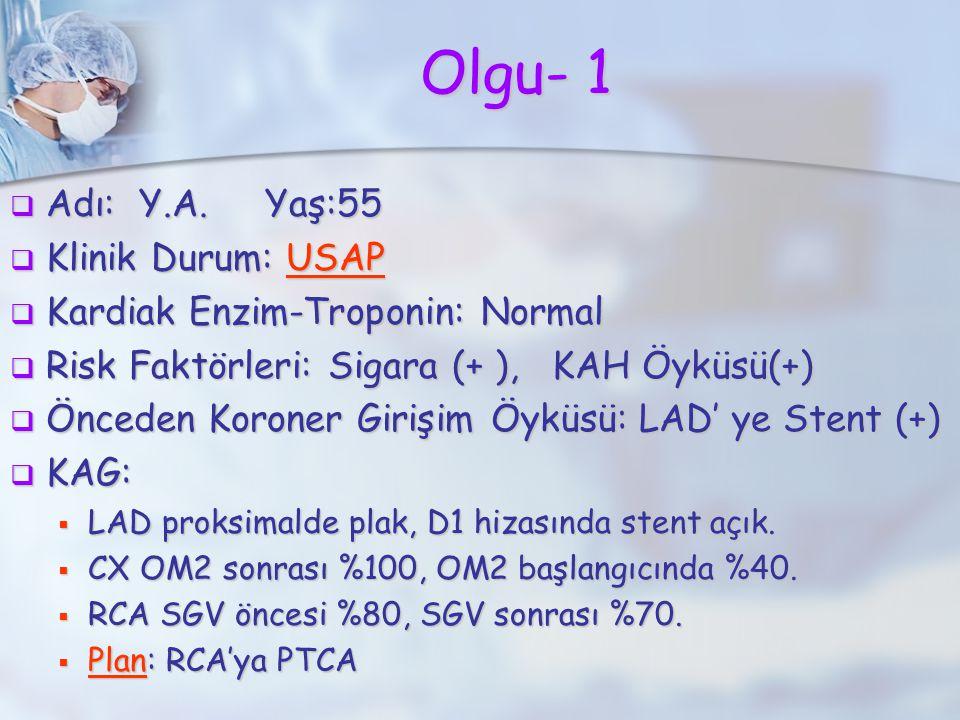 Olgu- 1 Adı: Y.A. Yaş:55 Klinik Durum: USAP