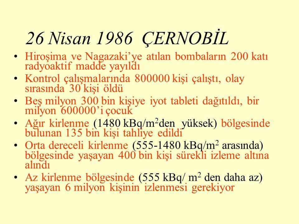26 Nisan 1986 ÇERNOBİL Hiroşima ve Nagazaki'ye atılan bombaların 200 katı radyoaktif madde yayıldı.