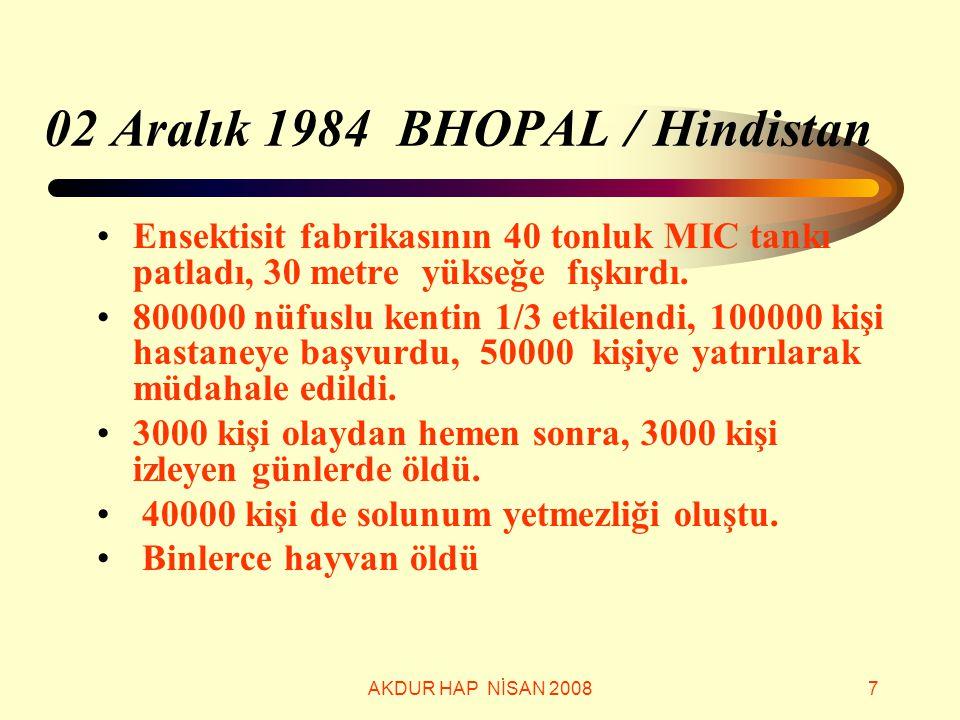 02 Aralık 1984 BHOPAL / Hindistan