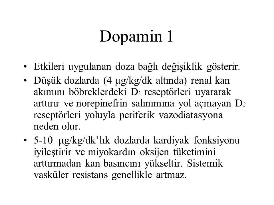 Dopamin 1 Etkileri uygulanan doza bağlı değişiklik gösterir.