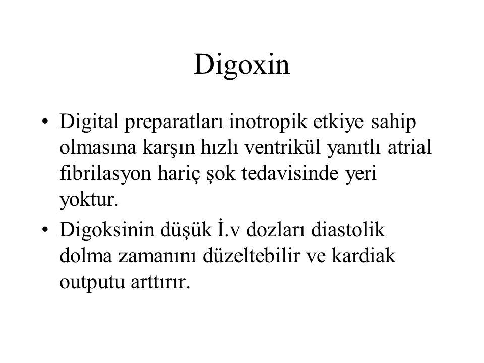 Digoxin Digital preparatları inotropik etkiye sahip olmasına karşın hızlı ventrikül yanıtlı atrial fibrilasyon hariç şok tedavisinde yeri yoktur.