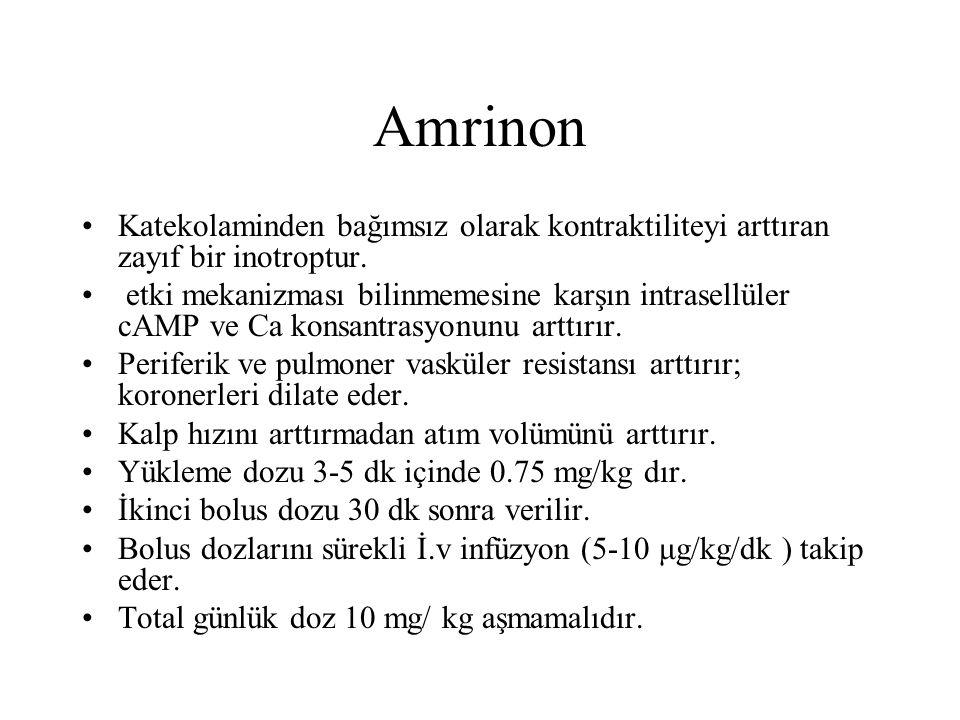 Amrinon Katekolaminden bağımsız olarak kontraktiliteyi arttıran zayıf bir inotroptur.