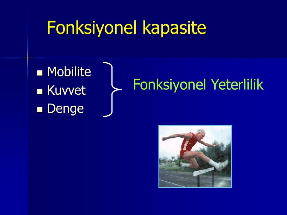Fonksiyonel kapasite Mobilite Kuvvet Denge Fonksiyonel Yeterlilik