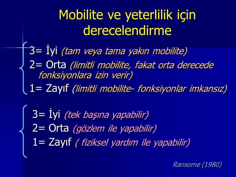 Mobilite ve yeterlilik için derecelendirme