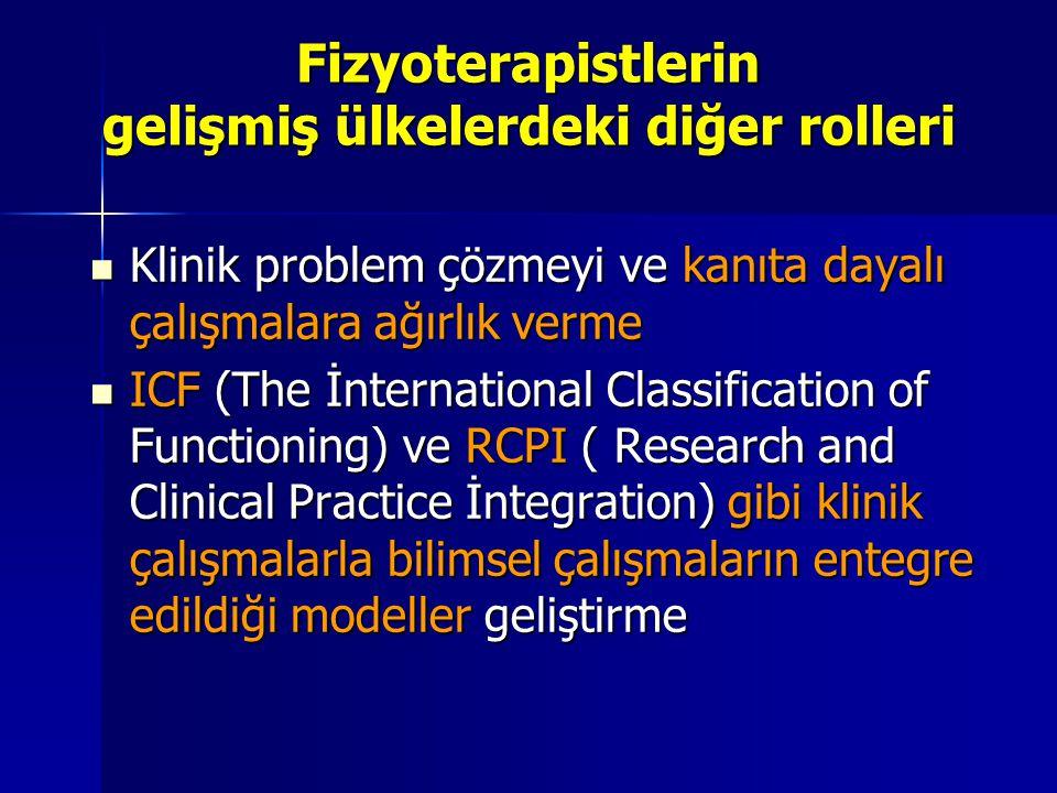 Fizyoterapistlerin gelişmiş ülkelerdeki diğer rolleri