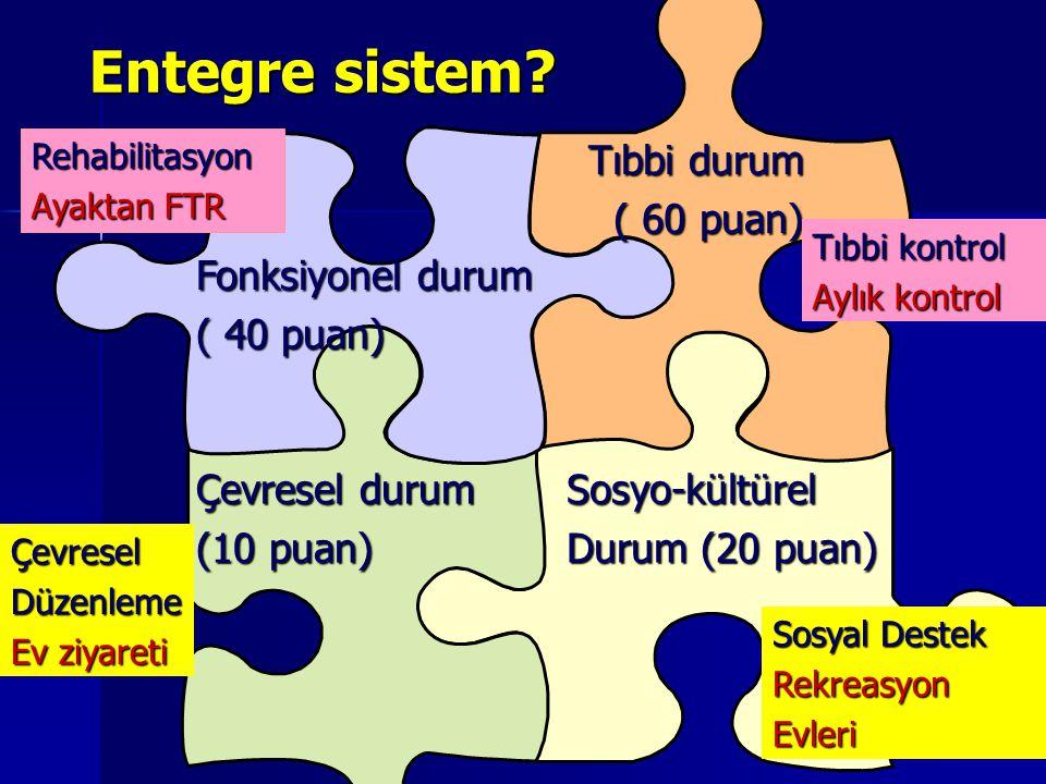 Entegre sistem Tıbbi durum ( 60 puan) Fonksiyonel durum ( 40 puan)