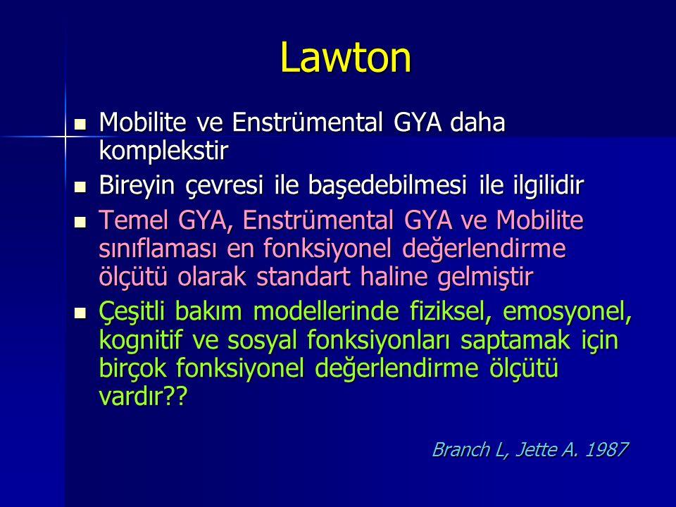 Lawton Mobilite ve Enstrümental GYA daha komplekstir