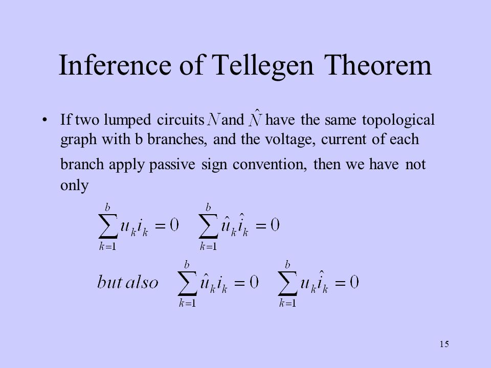 Inference of Tellegen Theorem