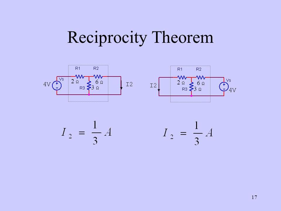 Reciprocity Theorem 2  3  6  3  6  2 