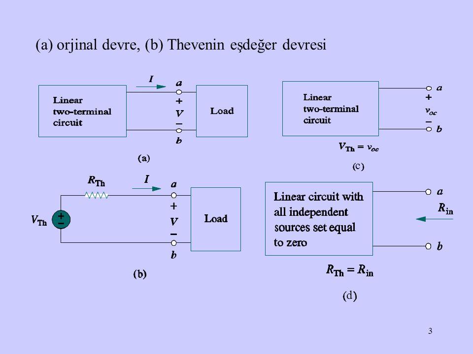 (a) orjinal devre, (b) Thevenin eşdeğer devresi